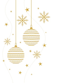 Elegant merry christmas decorative background in white and gold colors