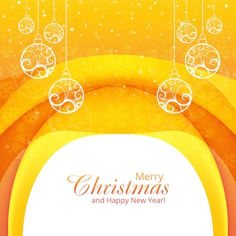 Elegant merry christmas decorative with ball background wave vector
