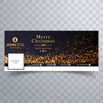 Elegant merry christmas glitters with facebook banner