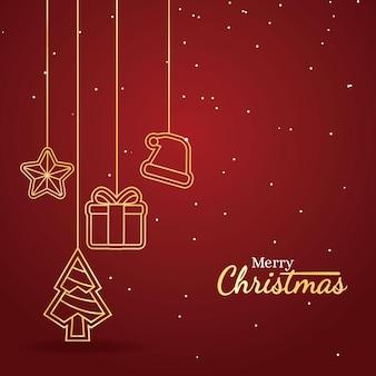 装飾品が付いている優雅なメリークリスマスのグリーティングカード
