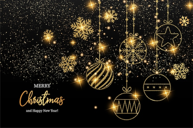 Elegant merry christmas and happy new year greeting card