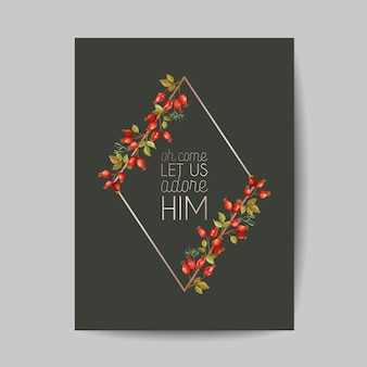 Elegant merry christmas and new year 2021 cards with pine branches, holy berry, mistletoe, winter floral plants design illustration for greetings, invitation 2020, flyer, brochure, cover in vector