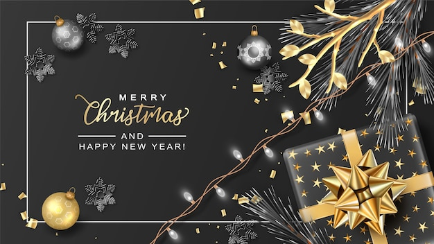 Elegant merry christmas and new year banner