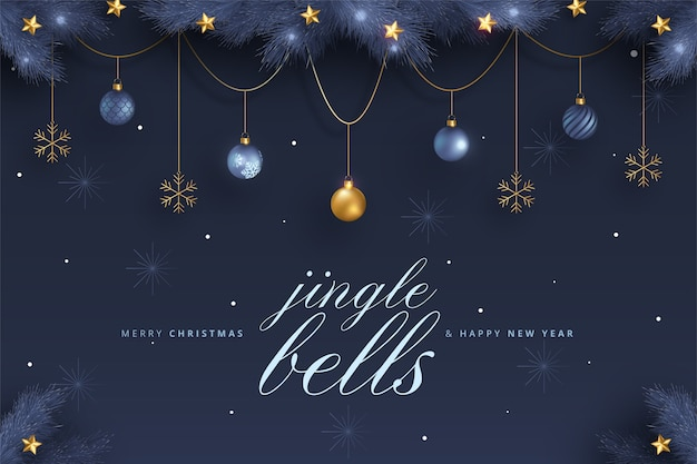 Elegant merry christmas and new year card with blue and golden ornaments