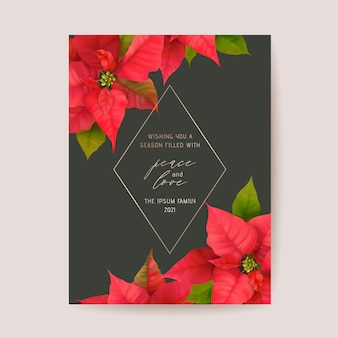 Elegant merry christmas and new year card with poinsettia realistic flowers, floral wreath. winter 3d plants design illustration for greetings, invitation, flyer, brochure, cover in vector