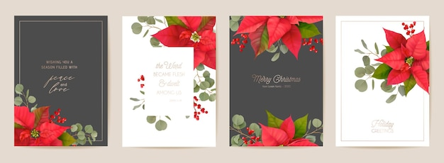 Elegant merry christmas and new year cards set with poinsettia realistic flowers, mistletoe. winter 3d plants design illustration for greetings, invitation, flyer, brochure, cover in vector