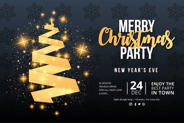 Elegant merry christmas party event poster template