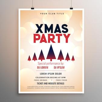 Elegant merry christmas party flyer template