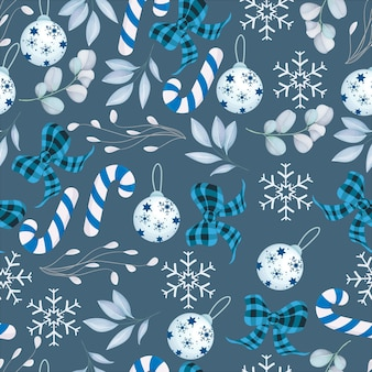 화이트 크리스마스 장식으로 우아한 메리 크리스마스 원활한 패턴