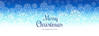 Elegant merry christmas snowflake card banner design