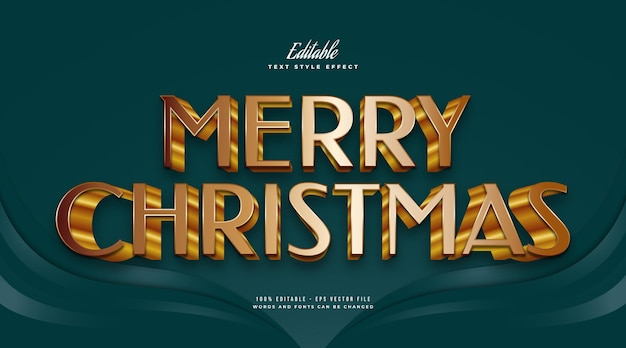 Elegant merry christmas text in 3d golden style. editable text style effect