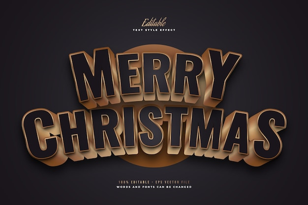 Elegant merry christmas text in black and gold style with 3d and curved effect. editable text style effect