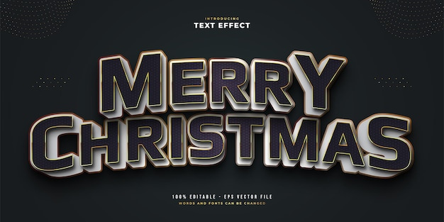 Elegant merry christmas text in black and white style with 3d embossed effect. editable text style effect