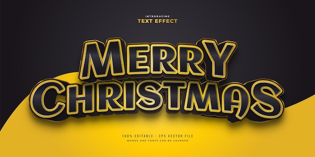 Elegant merry christmas text in black and yellow style with 3d effect. editable text style effect