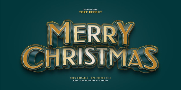 Elegant merry christmas text in blue and gold style with 3d effect. editable text style effect