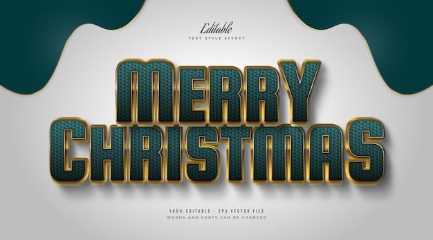 Elegant merry christmas text in green and gold style with embossed and textured effect. editable text style effect