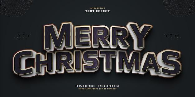 3d 양각 효과와 흑백 스타일의 우아한 메리 크리스마스 텍스트. 편집 가능한 텍스트 스타일 효과
