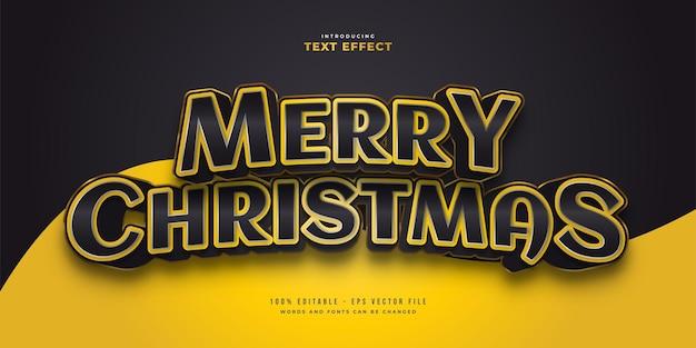 3d 효과와 검은색과 노란색 스타일의 우아한 메리 크리스마스 텍스트. 편집 가능한 텍스트 스타일 효과
