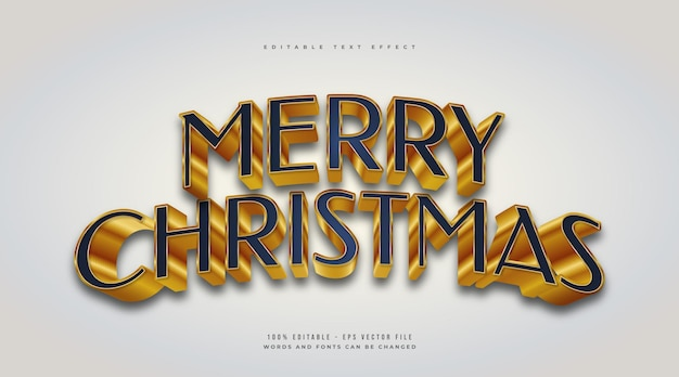 3d 효과와 블루와 골드 스타일의 우아한 메리 크리스마스 텍스트. 편집 가능한 텍스트 스타일 효과