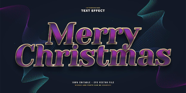 반짝이와 광택 효과가 있는 보라색과 금색의 우아한 메리 크리스마스 텍스트. 편집 가능한 텍스트 스타일 효과