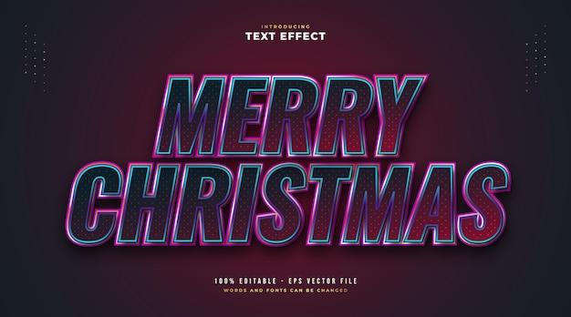 스파클링 효과와 빨간색과 파란색 스타일의 우아한 메리 크리스마스 텍스트. 편집 가능한 텍스트 스타일 효과