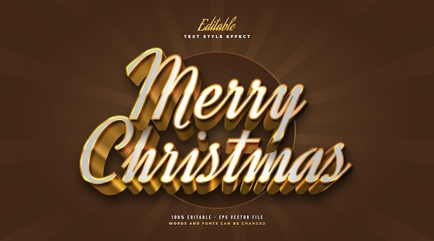Elegant merry christmas text in white and gold style in 3d effect. editable text style effect