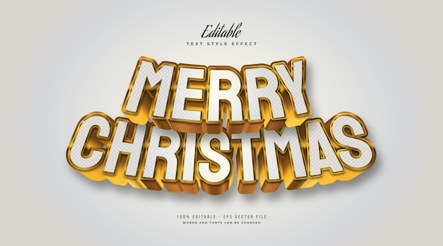 Elegant merry christmas text in white and gold with 3d effect. editable text style effect