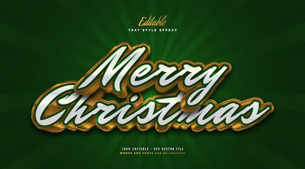 Elegant merry christmas text in white, green, and gold with 3d effect. editable text style effect