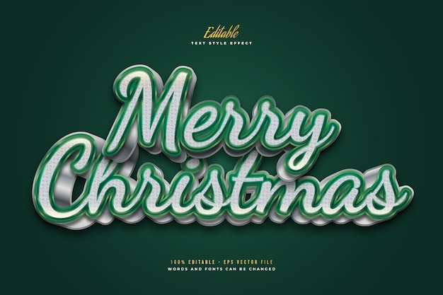 Elegant merry christmas text in white and green with 3d effect. editable text style effect