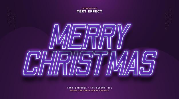 빛나는 보라색 네온 효과와 우아한 메리 크리스마스 텍스트입니다. 편집 가능한 텍스트 스타일 효과