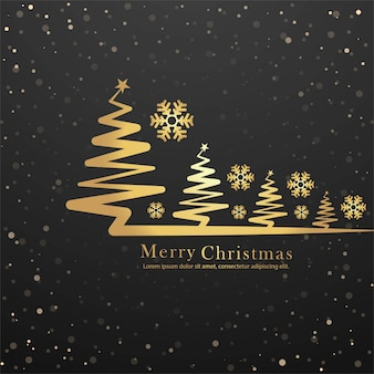 Elegant merry christmas tree card design vector