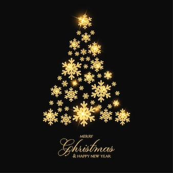 ゴールデンスノーフレークツリーとエレガントなメリークリスマス