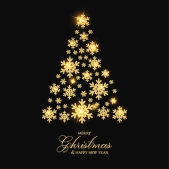 Elegant merry christmas with golden snowflake tree