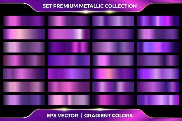 Elegant metallic gradient. shiny purple. golden, pink copper and chrome metal collection