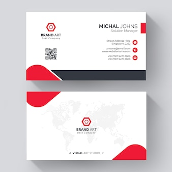 Elegant minimal business card template with red details