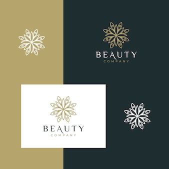 Elegant minimalist beauty flower logo design with simple outline style