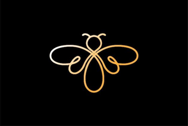 Elegant minimalist bee line outline monoline logo design vector