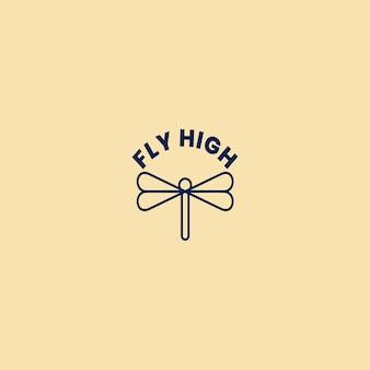 라인 아트 스타일의 우아한 미니멀리즘 잠자리 날개 로고 디자인. 라인 아트 미니멀한 우아한 잠자리 날개 로고 디자인.