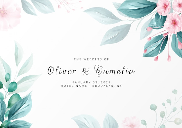Elegant minimalist floral background for wedding invitation card template multi-purpose