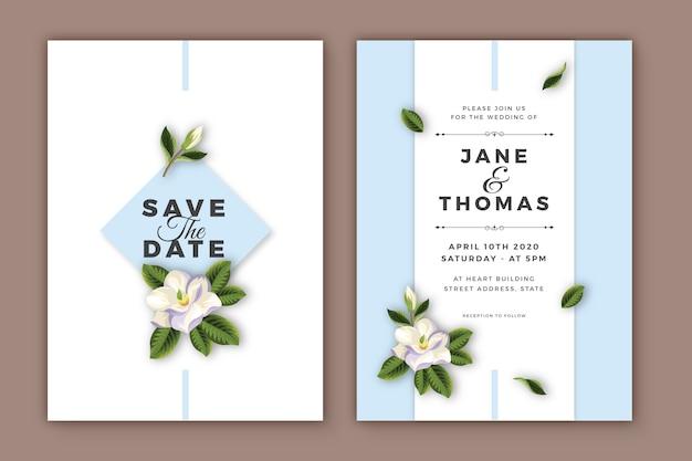 Elegant minimalist floral wedding invitation template