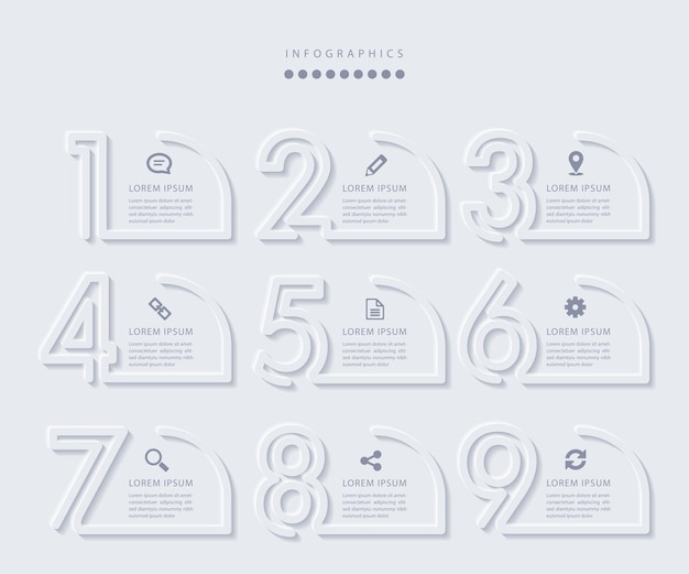9ステップのエレガントなミニマリストのインフォグラフィック