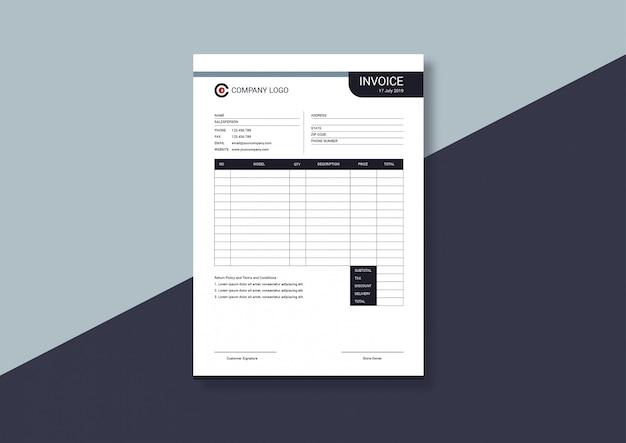Elegant minimalist invoice template
