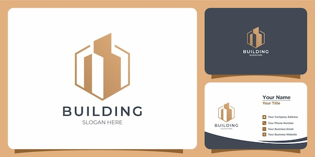 名刺のブランドで設定されたエレガントなミニマリストラインスタイルの建物のロゴ