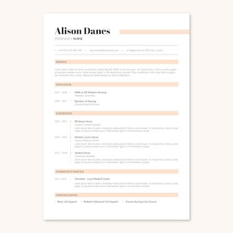 Elegant minimalist uk format nurse medical resume