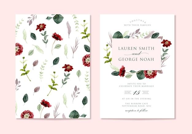 Элегантное минималистское свадебное приглашение с цветочной акварелью