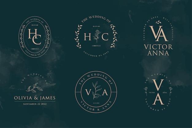 Elegant and minimalist wedding logo monogram template collections