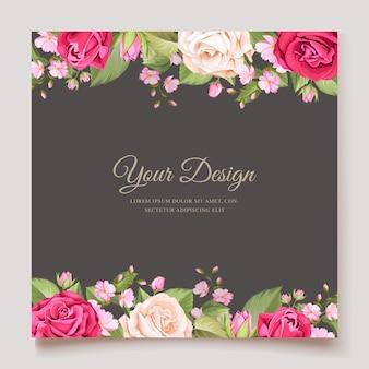 Elegant minimalistic floral wedding invitation template