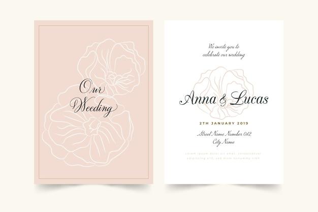 우아한 최소한의 꽃 결혼식 초대장 템플릿