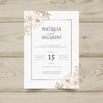 Elegant minimalistic floral wedding invitation template