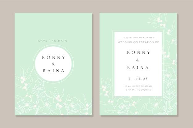 Elegant minimalistic template floral wedding invitation